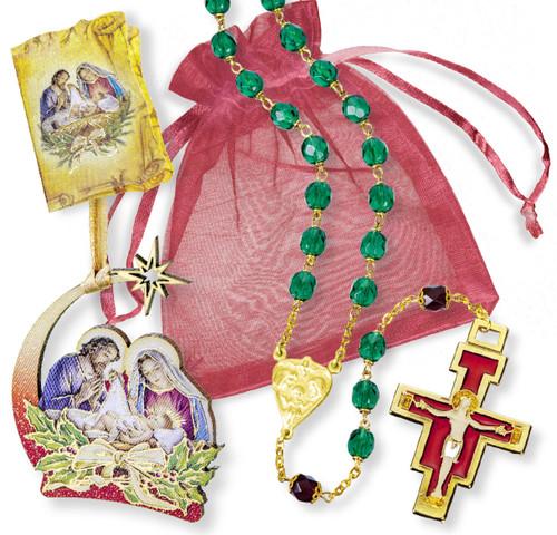 Green Christmas Rosary Gift Set