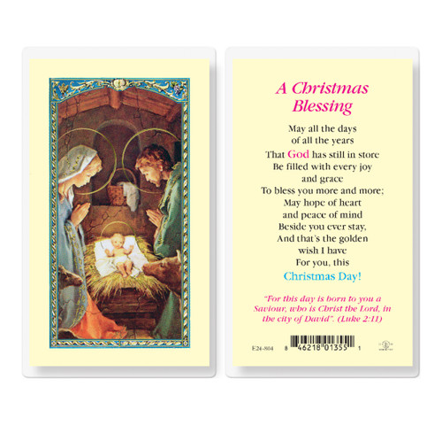 A Christmas Blessing Holy Card