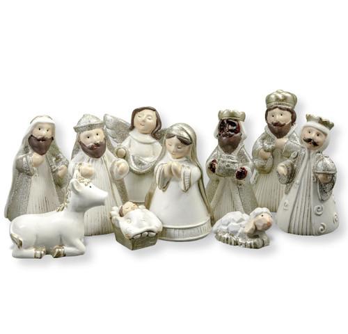 Glitter Christmas Nativity Set