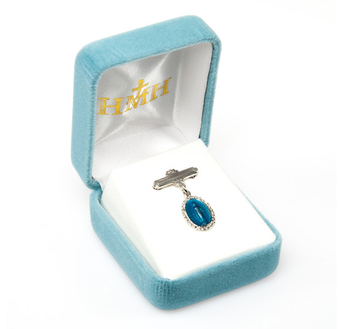 Blue Enameled Oval Fancy Edge Sterling Silver Baby Miraculous Baby Medal on an Angel Pin