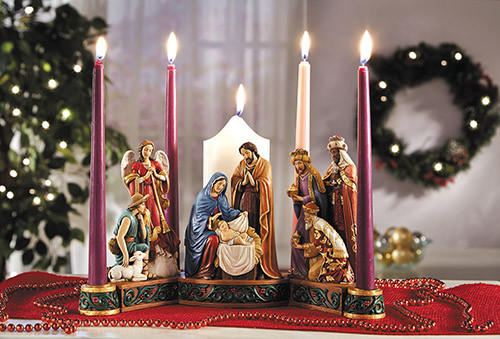 Nativity Advent Candle Holder | Stone Resin