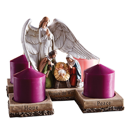 Guardian Angel Nativity Advent Candle Holder | Resin