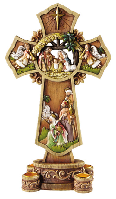 "13.5"" Nativity Cross Advent Wreath Candle Holder 