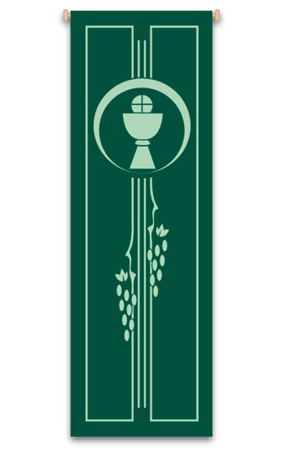 Chalice, Host, and Grape Vines Banner