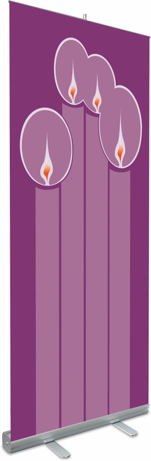 "Advent Candles Roll Up Banner with Stand | 79"" x 33"""