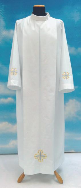 #0335 Cross Embroidered Alb   Shoulder Zipper   Mixed Cotton