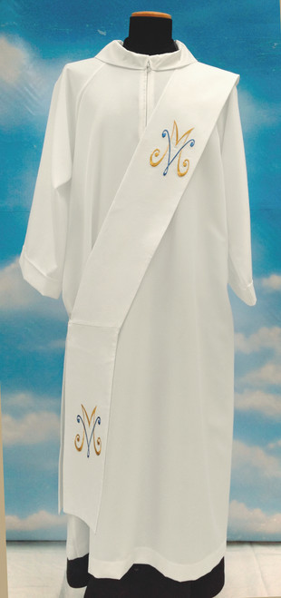 #345 Embroidered Marian Deacon Stole | 100% Primavera Polyester