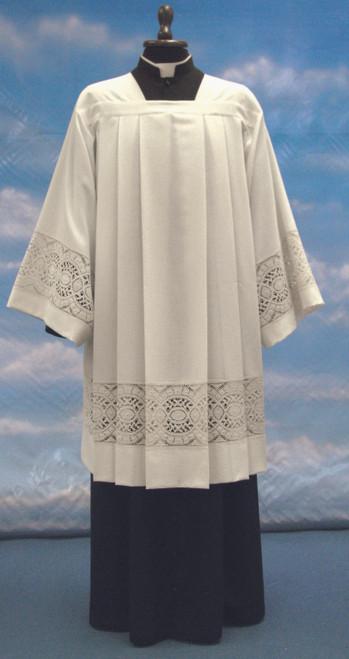 #903 Lightweight Ivory Lace Insert Surplice | Mixed Wool
