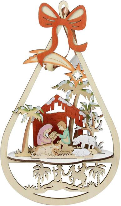 "10"" Lasercut Nativity Scene Hanging Ornament | Wood"