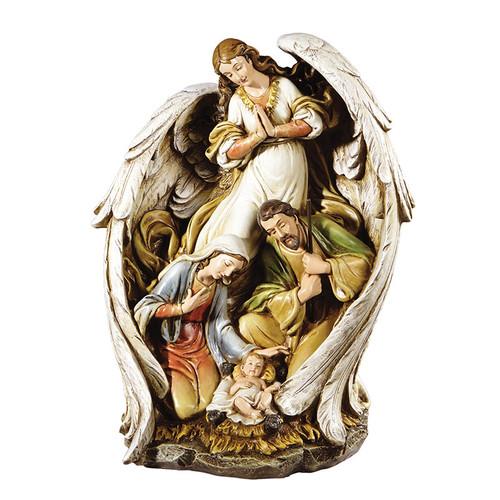 "15"" Angel with Nativity Scene Figure | Resin"