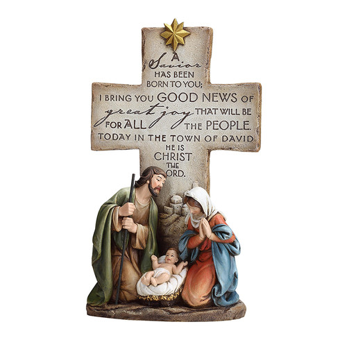 "12"" A Savior Is Born Cross Nativity Figure 