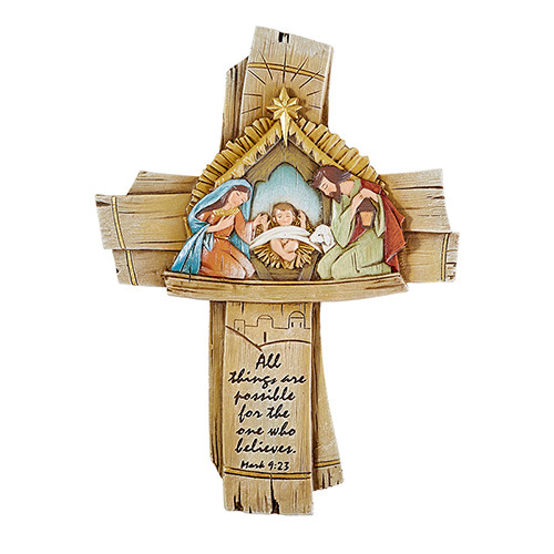 "7.5"" Wood Style Nativity Cross 