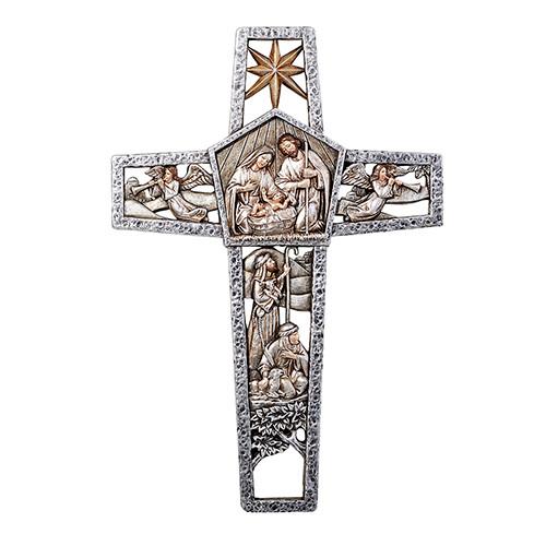 "12"" Nativity Cut Out Cross | Resin"