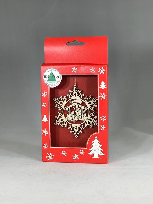 Nativity in Snowflake Ornament | Laser Cut Wood | Made in Italy