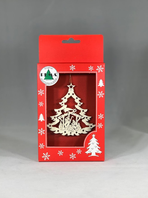Nativity Christmas Tree with Stars Ornament | Laser Cut Wood | Made in Italy