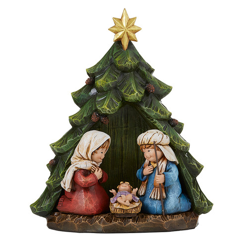 "10.5"" Children's Nativity Tree Figurine | Resin"