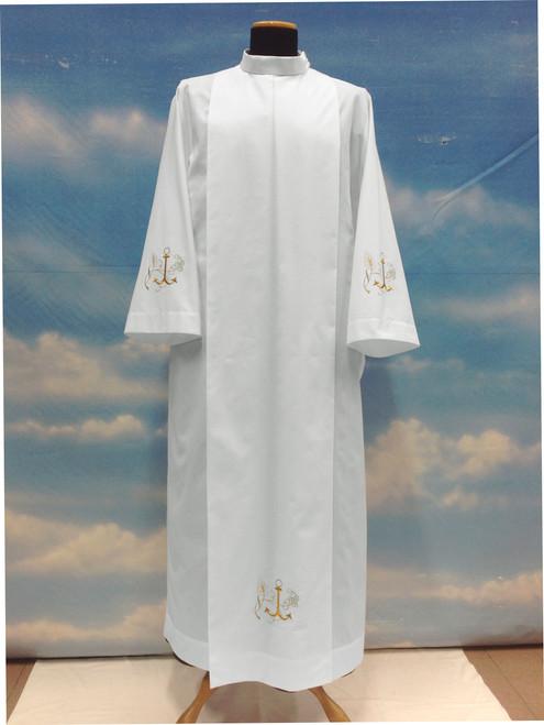 #025 Embroidered Anchor Alb   Shoulder Zipper   Poly/Cotton