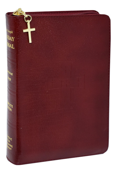 St. Joseph Sunday Missal | Burgundy Leather with Zipper Close | Engrave