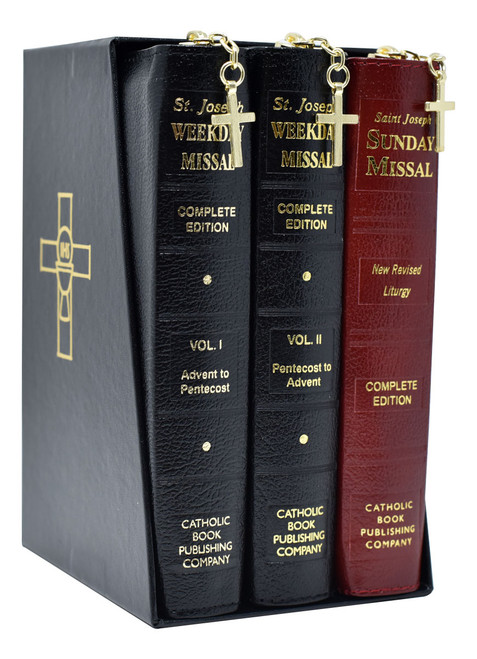 St. Joseph Daily And Sunday Missals Complete Gift Box 3-Volume Set | Leather with Zipper Close | Engrave