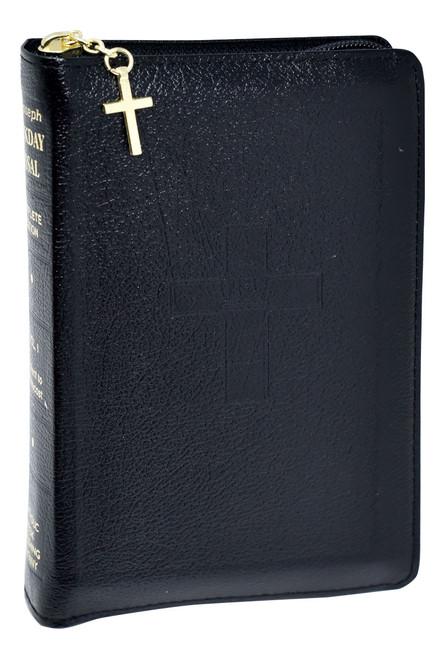 St. Joseph Weekday Missal Vol. I / Advent To Pentecost | Black Leather w/ Zipper | Engrave