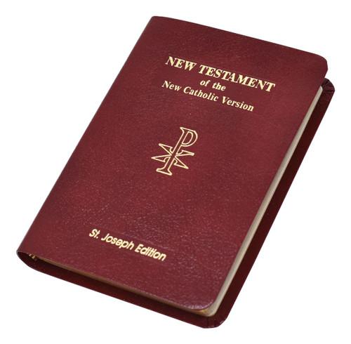 St. Joseph New Catholic Version New Testament | Burgundy Leather | Vest Pocket Edition | Engrave