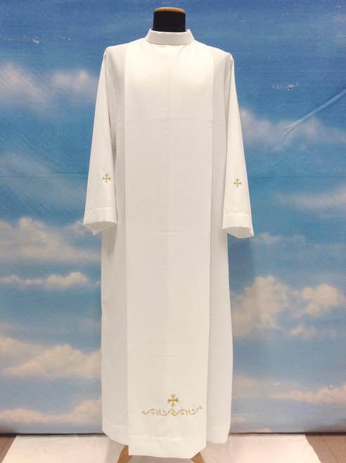 #0776 Summertime Embroidered Cross Alb | Shoulder Zipper | Mixed Wool