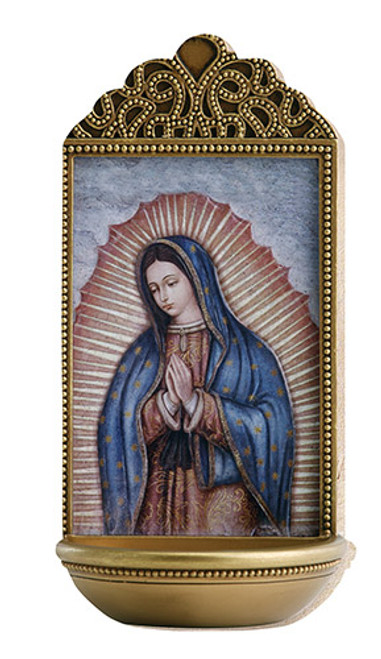 "6"" Our Lady Of Guadalupe Holy Water Font"