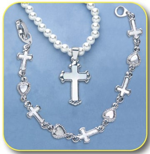 Pearl Necklace with Cross
