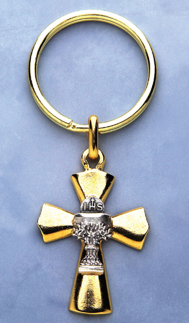 Chalice Gold-tone Cross Keychain