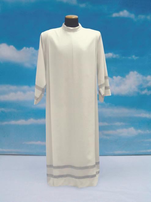 #053 Lightweight Embroidered Alb | Shoulder Zipper | Mixed Wool