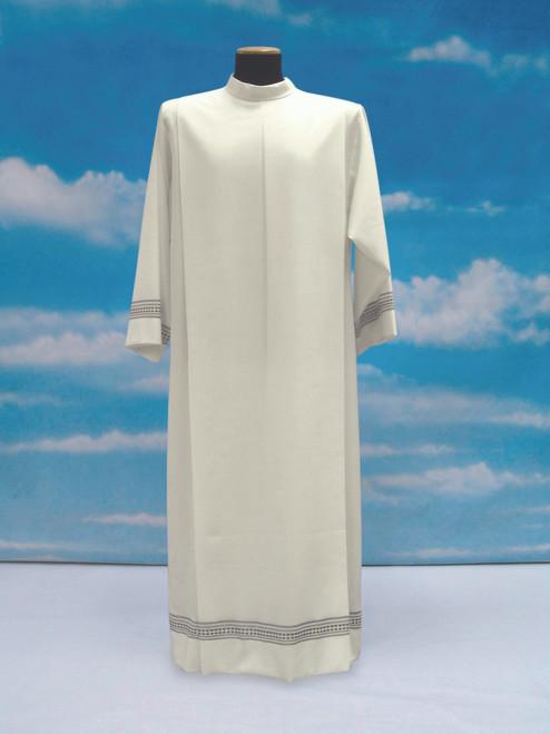 #054 Lightweight Embroidered Alb | Shoulder Zipper | Mixed Wool