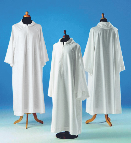 #088 Altar Server Alb | Front Zipper | Polyester | Red/White/Ivory