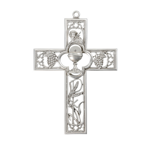 """6"""" Genuine Pewter First Communion Cross with Chalice"""