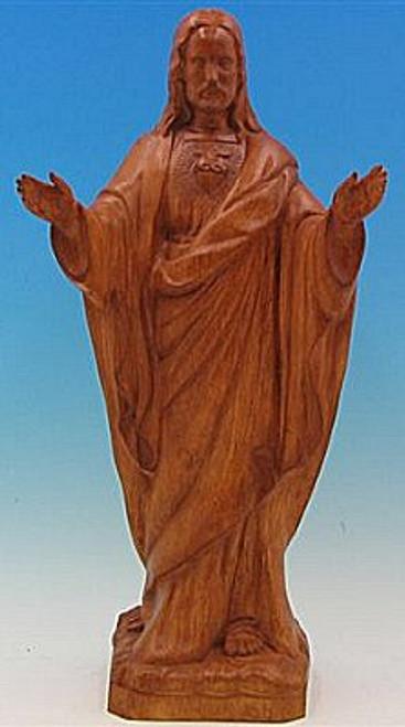"24"" Sacred Heart of Jesus Garden Statue   Wood Stain Finish"