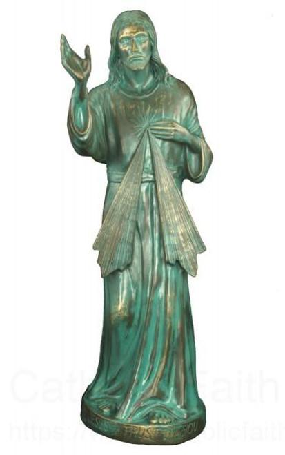 "24"" Divine Mercy Garden Statue | Patina Finish"