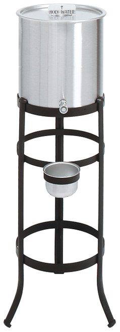5 Gallon Holy Water Reservoir & Black Stand | Stainless Steel