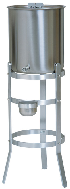 15 Gallon Holy Water Reservoir & Aluminum Stand With Handles | Stainless Steel