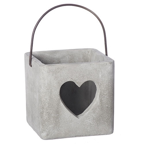 "4"" Cement Heart Container"