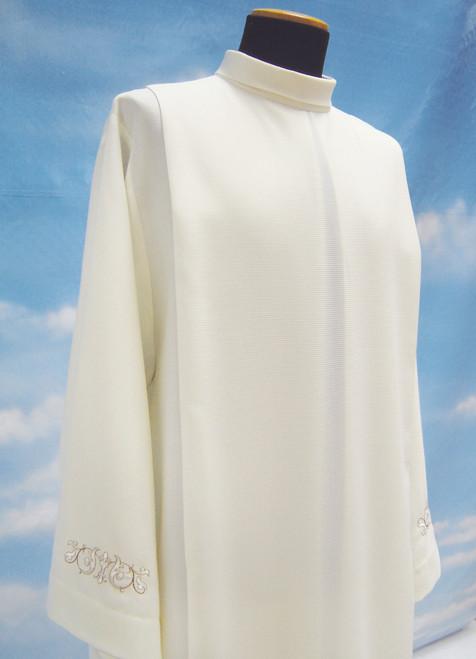 #0615 Lightweight Summertime Embroidered Alb | Front Zipper | Mixed Wool