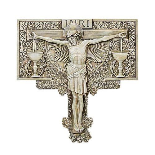 """11"""" Crucifixion Garden Plaque   Resin/Stone"""