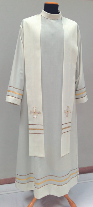 #0908 Embroidered Cross Overlay Stole | Mixed Wool