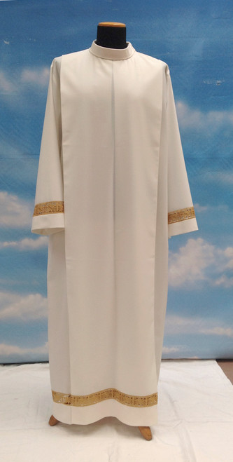 #073/06 Gold Lace Insert Alb | Shoulder Zipper | Mixed Wool
