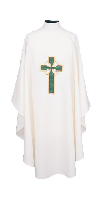 #872 Embroidered Celtic Cross Chasuble | Poly/Linen Weave