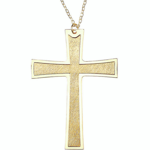 "4 1/4"" Gold Plated Pectoral Latin Cross 