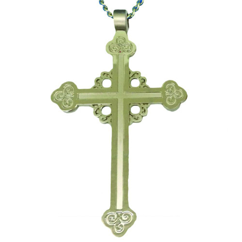 "3 3/4"" Two-Tone Budded Pectoral Cross 