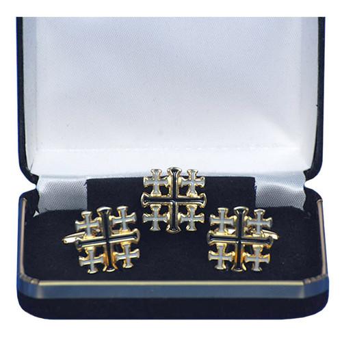 Gold-Plated Jerusalem Cross Cufflink Set