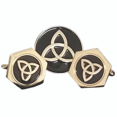 Gold-Plated Celtic Trinity Cufflinks & Pin