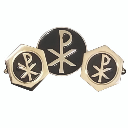 Gold-Plated Chi Rho Cufflinks & Pin