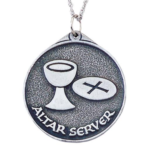 "1 1/2"" Pewter Altar Server Pendant | 24"" Chain"