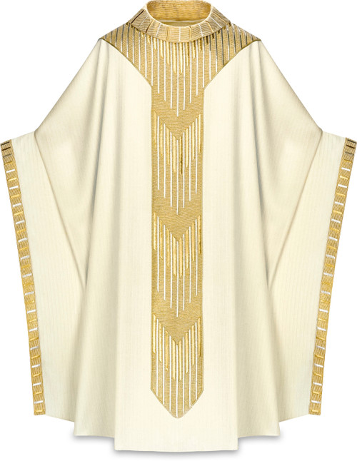 #3850 Pope Benedict XVI Chasuble | Roll Collar | Wool/Gold Lurex | All Colors